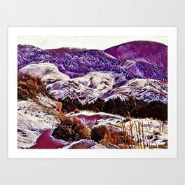 Winter Purple Pink Hills by CheyAnne Sexton Art Print