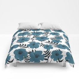 Blue Flowers with Banana Leaves Comforters