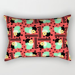 Fruity floral with dots and stripes Rectangular Pillow