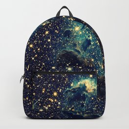 Pillars of Creation GalaxY  Teal Blue & Gold Backpack