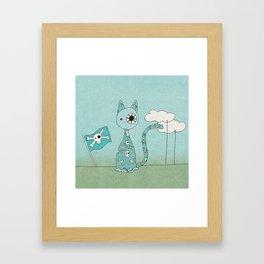 Sweet Blue Pirate Cat Framed Art Print