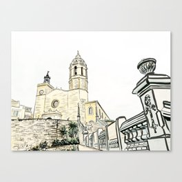 Stairs to the Beach from a medieval Church in Sitges near Barcelona Canvas Print