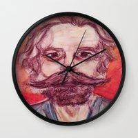 grateful dead Wall Clocks featuring Bob Weir Watercolor Portrait Grateful Dead by Acorn