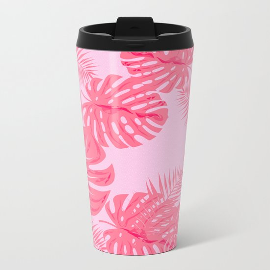 Tropical flamingo pink leaves Metal Travel Mug