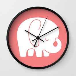 Mod Baby Elephant Coral Wall Clock