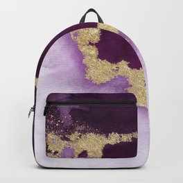 Purple and Plum Watercolor with Gold Backpack