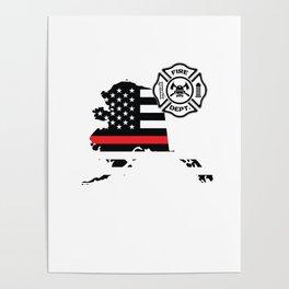 Alaska Firefighter Shield Thin Red Line Flag Poster