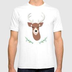 deer head White MEDIUM Mens Fitted Tee