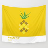 pantone Wall Tapestries featuring Pineapple Pantone Illustration by tailoredpants