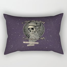 Skull with headphones and beard Rectangular Pillow