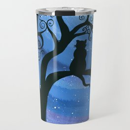 Meowing at the moon - moonlight cat painting Travel Mug