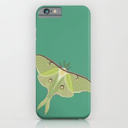 Luna Moth Drawing on Turquoise Background iPhone Case