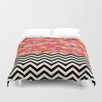 yetiland Duvet Covers featuring Chevron Flora by Bianca Green