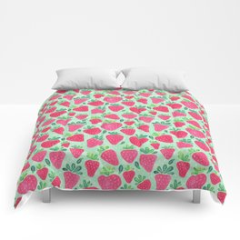 Whimsical Watercolor Strawberries Comforters