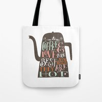 coffe Tote Bags featuring COFFE & LOVE by Matthew Taylor Wilson