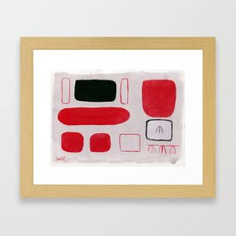 Red and Black Forms on Gray # 1 Framed Art Print