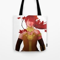 rwby Tote Bags featuring The Fall Maiden by Bellalyse