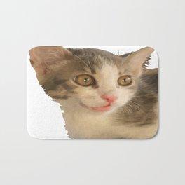 Cute Gray and White Kitten Vector Bath Mat