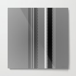 Gray Stripes Abstract Metal Print