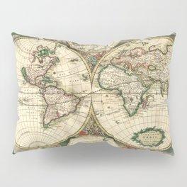 Old map of world hemispheres (enhanced) Pillow Sham