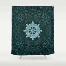 Dharma Wheel - Dharmachakra Silver and turquoise Shower Curtain