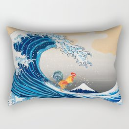 Rooster Surfing The Great Wave Rectangular Pillow