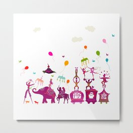 colorful circus carnival traveling in one row on white background Metal Print