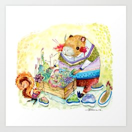 Capybara and his succulent garden. Art Print