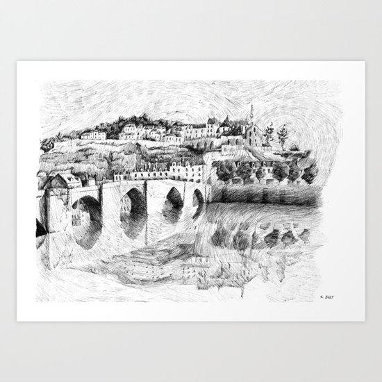 Terrasson village - France drawing Art Print
