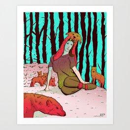 A women's among wolves Art Print