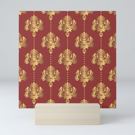 Gold damask flowers and pearls on red background Mini Art Print