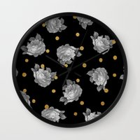 gold dots Wall Clocks featuring Roses and Gold Dots by Sandra Arduini