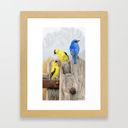Misty Morning Meadow Cropped- Goldfinches and Bluebird Framed Art Print