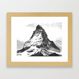 Black and White Mountain Framed Art Print