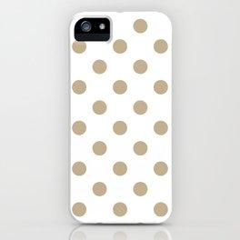 Polka Dots - Khaki Brown on White iPhone Case