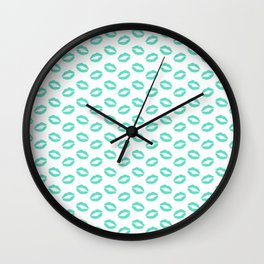Tiffany Aqua Blue Lipstick Kisses on White Wall Clock