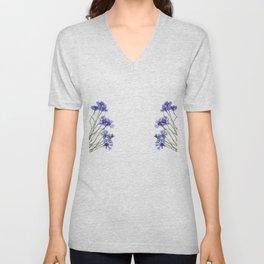 Slant blue cornflower flowers Unisex V-Neck