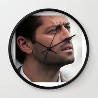 castiel Wall Clocks featuring Castiel by LindaMarieAnson