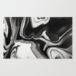 Abstract Black and White Marbled Fluid Painting Rug