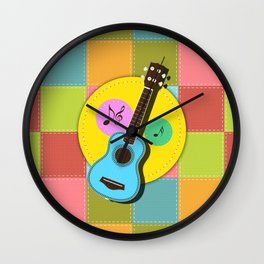 Fun colorful Ukuele and music notes Wall Clock