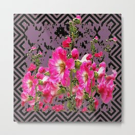 Modern Art Fuchsia Pink Colored Hollyhocks Black-Puce Pattern Metal Print