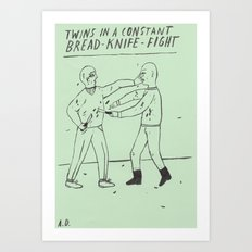 Bread-Knife-Fight Art Print