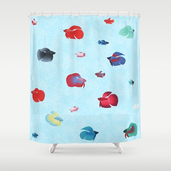 Betta Splendens Bicolor Purple Male Shower Curtain
