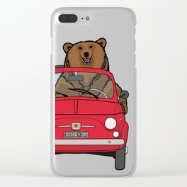 A bear driving a red vintage car Clear iPhone Case