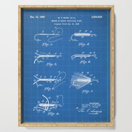 Fly Fishing Patent - Fisherman Art - Blueprint Serving Tray