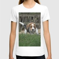 puppies T-shirts featuring Beagle puppies by Martina Berg