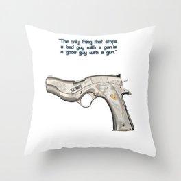American Problems Pop-Art Gun Series #7 by Jéanpaul Ferro - Good Guy with Gun Throw Pillow