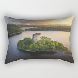 Cloughoughter Castle that sits on a small island in Lough Oughter in county Cavan Rectangular Pillow