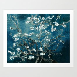 Van Gogh Almond Blossoms : Dark Teal Art Print