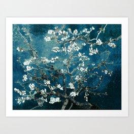 Van Gogh Almond Blossoms : Dark Teal Art Print